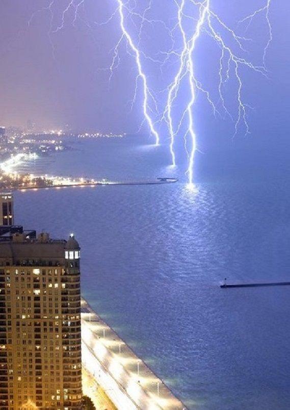 Long exposure image of lightning on Lake Michigan, U.S.