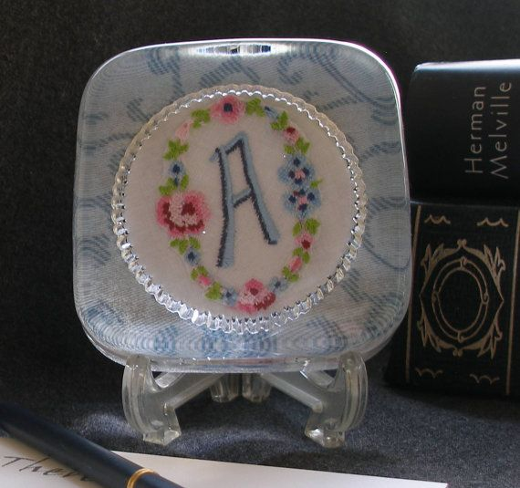 Apaperweight with vintage embroidered A monogram by WichitaStitch, $39.00