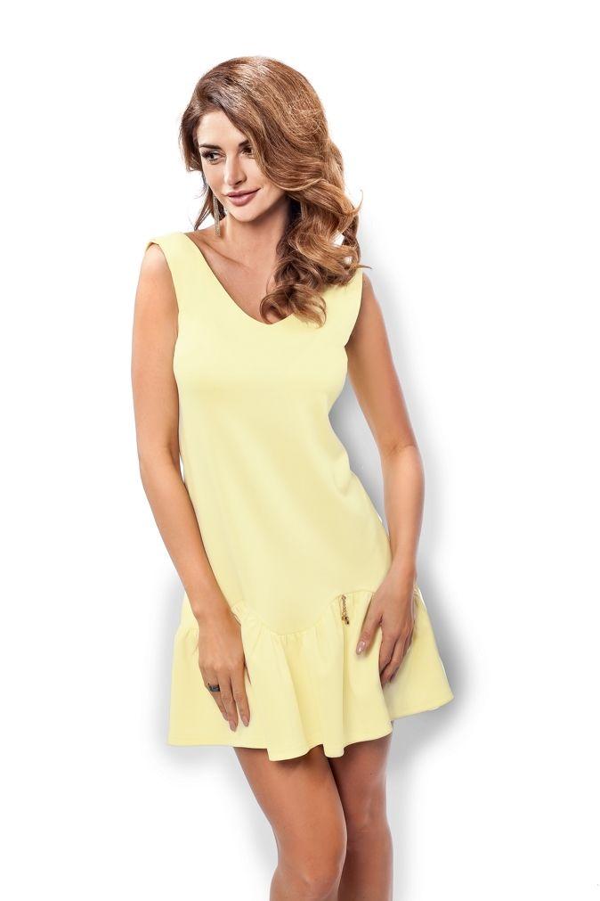 Cytrynowa koktajlowa sukienka mini