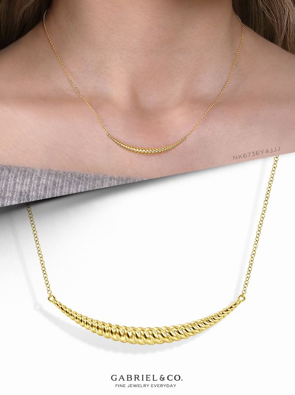 14k Yellow Gold Curved Bar Necklace Curved Bar Necklace Bar Necklace Gold Bar Necklace