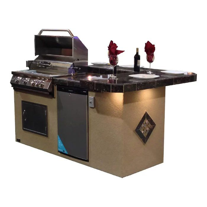 St John Bbq Island With High Bar Outdoor Kitchen 4 Burner Built In Convertible Gas Grill Outdoor Kitchen Bars Built In Grill Outdoor Kitchen Design