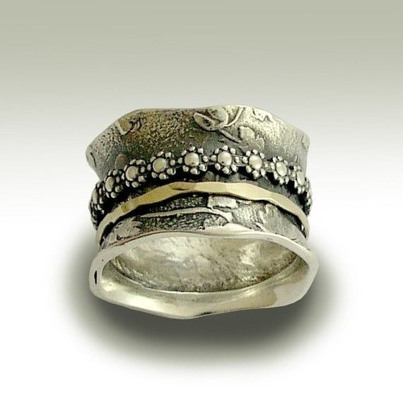 Meditation wedding band -  Sterling silver band with silver and gold floral spinners - I gave you my love.