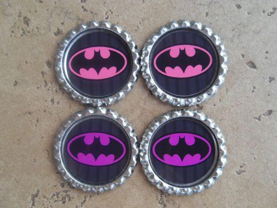Set of 4 Pink and Purple Batman Batgirl Symbol by PeppermintTurtle