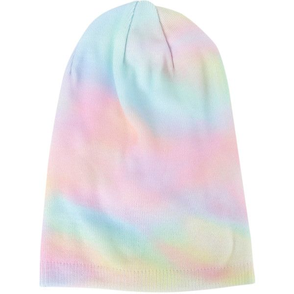 Pastel Tie Slouch Beanie Hot Topic ($13) ❤ liked on Polyvore featuring accessories, hats, slouchy hat, slouch hat, saggy beanie, beanie hat and beanie cap hat