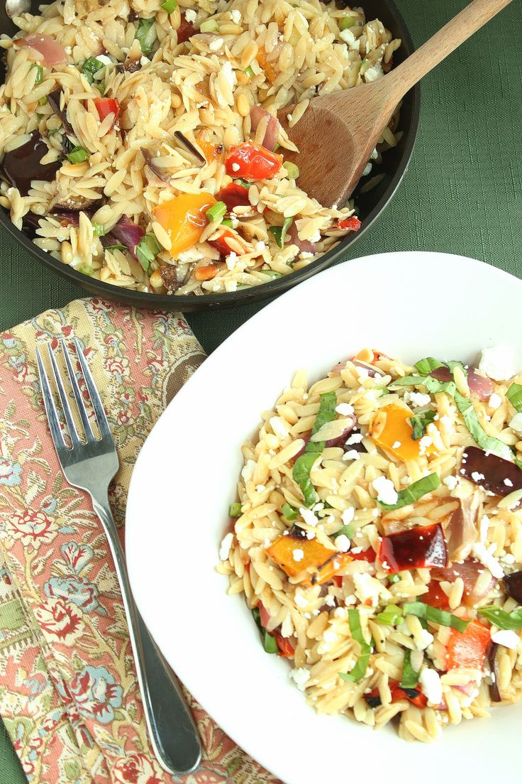 your new go to summer salad orzo with roasted vegetables in a light lemony dressing an ina garten original love the looks of this recipe looks like it