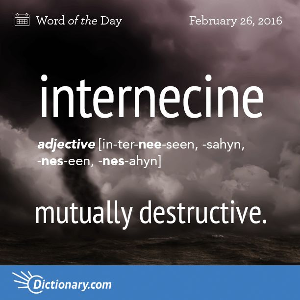 Today's Word of the Day is internecine. Learn its definition, pronunciation, etymology and more. Join over 19 million fans who boost their vocabulary every day.