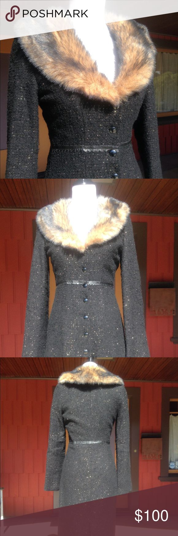 Betsey Johnson blk w gold flecks furry color coat See pictures for how amazing this coat is with its details BJ is known for. It is perfect over vintage 30s/40s dresses - that is what I bought it for but chose to wear a vintage one I already had. Perfect condition. Size small Betsey Johnson Jackets & Coats