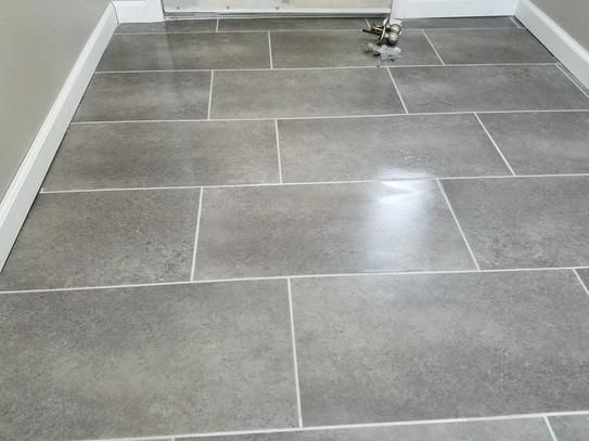 TrafficMASTER Ceramica 12 in. x 24 in. Coastal Grey Resilient Vinyl Tile Flooring (30 sq. ft. / case)-24716C - The Home Depot