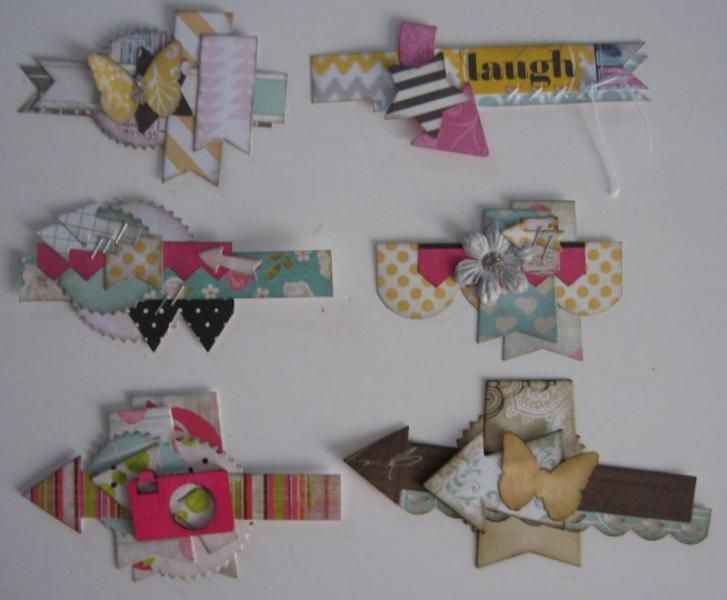 I was accumulating way too many scraps and punched or die-cut items, so I did a few more clustered embellishments