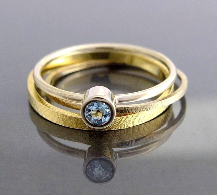 Komplet 2 złotych pierścionków akwamaryn