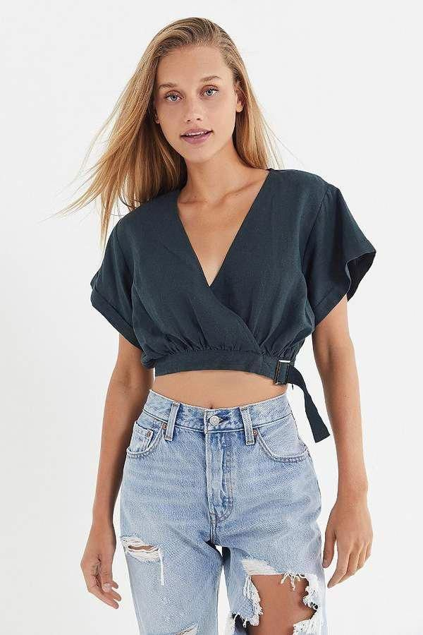 58e8ef7096e2b7 Moon River Surplice Cropped Top  women sfashionclassy