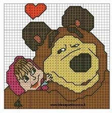schema punto croce masha e orso | Hobby lavori femminili - ricamo - uncinetto - maglia