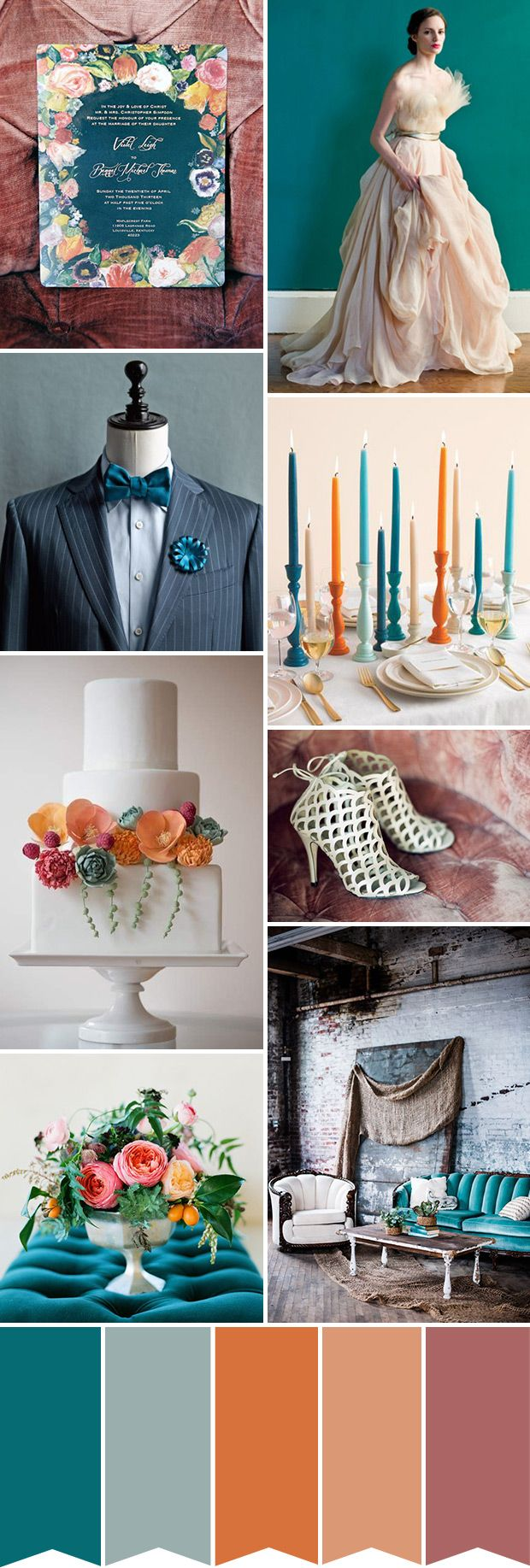 Teal and Orange Wedding Colour Palette | www.onefabday.com