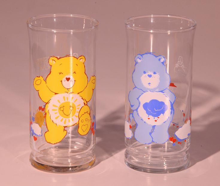 Care Bear TV Show, Pizza Hut Glasses, Care Bear Glass, Pizza Hut Glass, Funshine Bear, TV Show Glasses, Grumpy Bear, 1980s Care Bear
