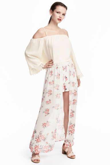 Shorts with a long skirt - Natural white/Floral - Ladies   H&M CA