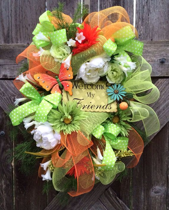 Spring - Summer Wreath, Spring - Summer Swag, Welcome Friends on Etsy, $81.00