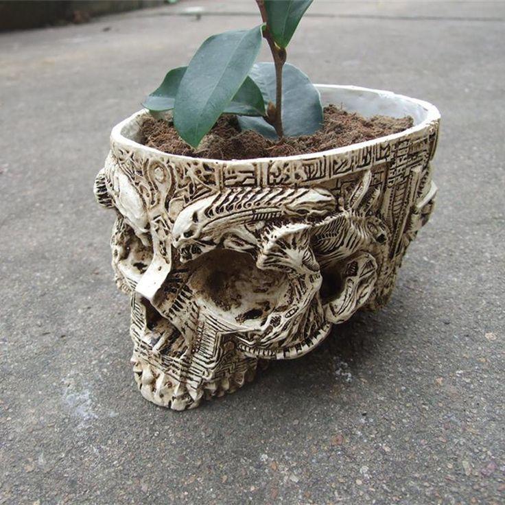 Carved Creative Handmade Skull Planter //Price: $28.69 & FREE Shipping //     #skull #skullinspiration #skullobsession #skulls