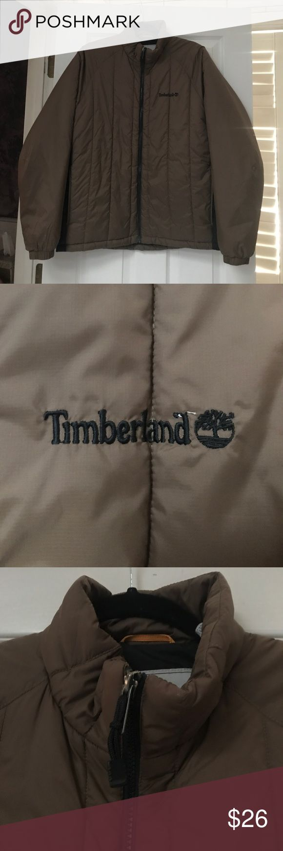 Men's Timberland Jacket Timberland, size medium jacket, polyester fill. Two pockets in front. Jacket zips all the way up. Machine washable in cold water, tumble dry low. Timberland Jackets & Coats Ski & Snowboard