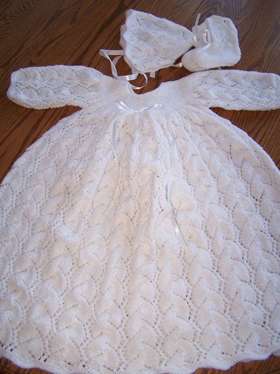New Hand Knit Christening Gown Set by hookinontheside on Etsy