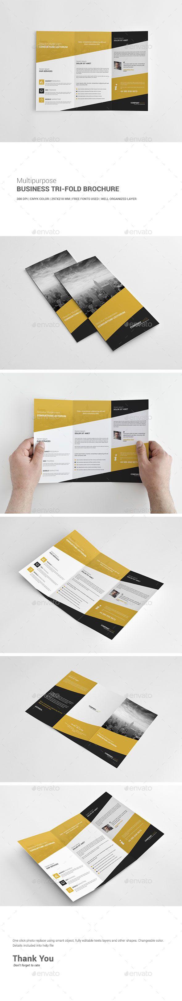 Multipurpose Business Tri-Fold Brochure - Corporate Brochure Template PSD. Download here: http://graphicriver.net/item/multipurpose-business-trifold-brochure/12736863?s_rank=1794&ref=yinkira