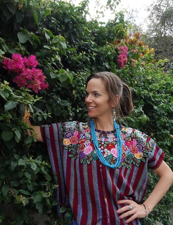 Colorful & Beautiful Vintage Red Floral Ethnic Mayan Guatemalan Textile Huipil Poncho from Patzun