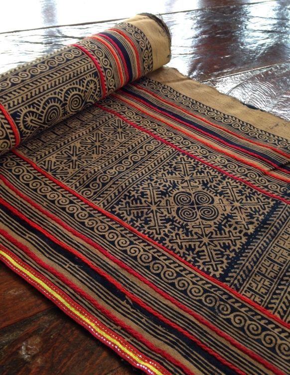 Vintage Style Hmong Batik handprint Textile Brown Tribal Ethnic Craft Supplies #Handmade