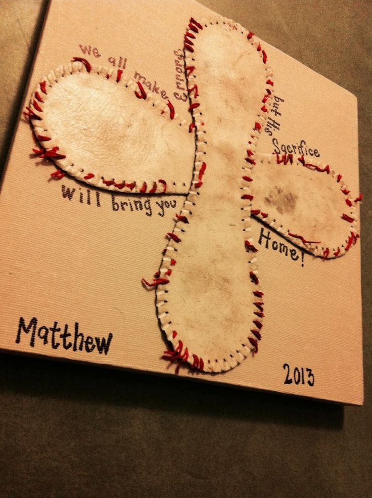 baseball cross on canvas project
