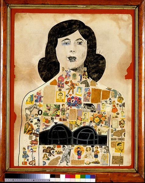 Tattoed Lady | Peter Blake | 1958 | Gouache and collage mounted on red paper