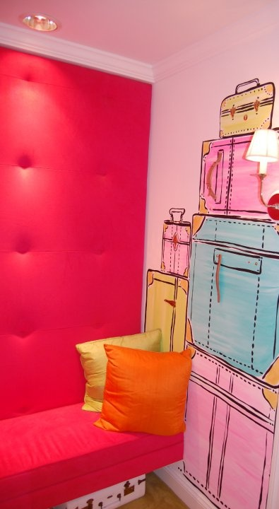 Paige Smith Painted Wall of Trunks at Lilly Pulitzer Store, Madison Ave.