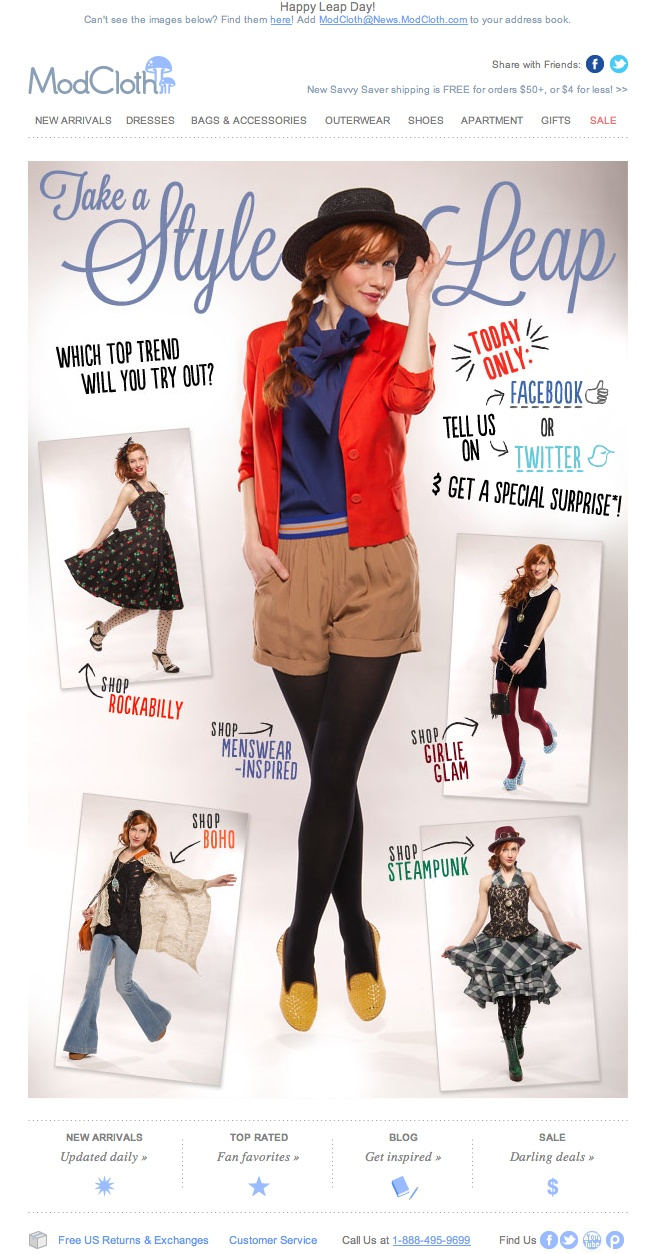 Leap Day email from ModCloth.com