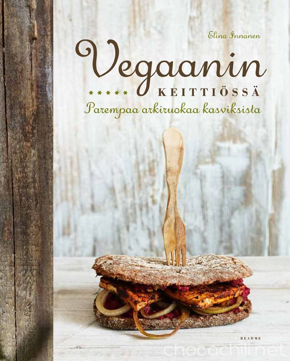 Vegaanin keittiössä – parempaa arkiruokaa kasviksista(Readme.fi 2014)on kirja sinulle, joka kaipaat keittiöösi helppoja, pääosin nopeita ja edullisista raaka-aineista valmistuvia kasvisruokia. Kirjasta löydät herkullisia keittoja, täytettyjä leipiä, tuhtejasalaatteja, helppoja uuniruokia, nopeita pastoja, suolaisia ja makeita leivonnaisia sekä aamiaisreseptejä.