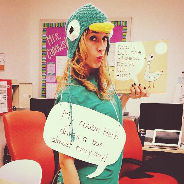 Mo Willems teacher Halloween costume  Pigeon  Handmade hat from: https://www.etsy.com/shop/KnitTwitKnitWear