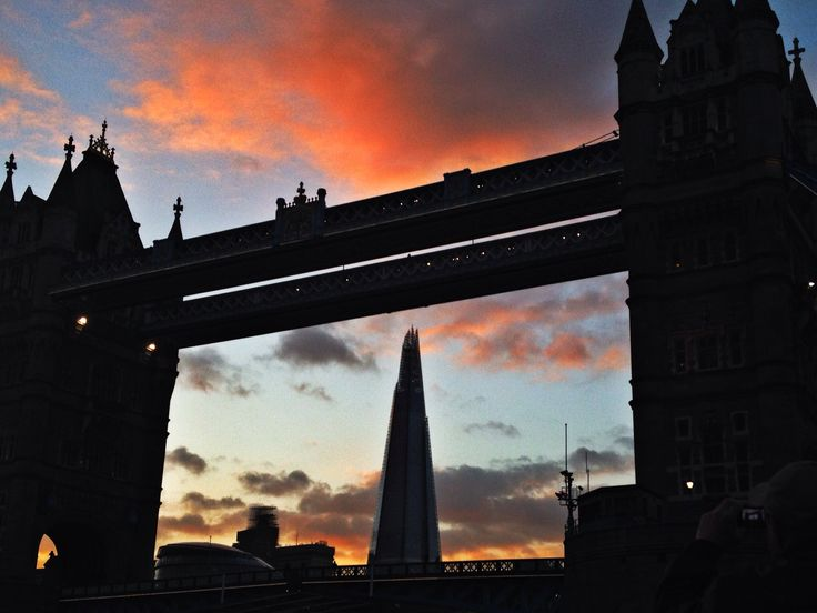 Shot taken whilst on a boat cruise, the london shard in the center of london bridge