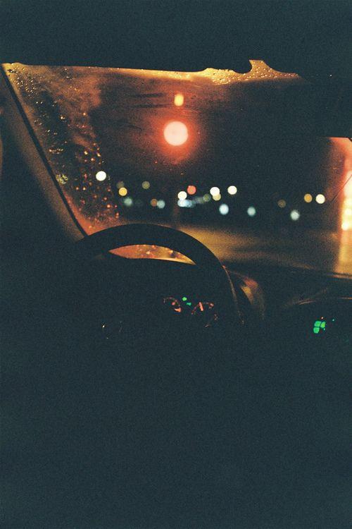 Night drive. Stop light.