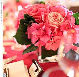 Pink Hydrangea's and garden roses