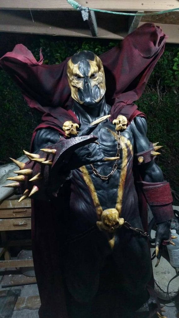 Greetings from REbirth MxD!! We present you our full REbirth MxDs original design of Hell Spawn cosplay costume!! The muscle suit is made out of a thick coat of latex made to last. Our props are crafted from foam with a protective coat of latex. The cape is crafted with a special cloth that keeps shape. The entire suit and mask was sculpted by a professional fx artist and airbrushed with fine detail. Also our Hell Spawn was presented at this years Son of MONSTERPALOOZA!! The suit can fit…