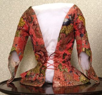Front view of Riding Jacket, 1736-40, Gorgeous Georgians at Berrington Hall 2014. From the Charles Paget Wade Collection stored at Berrington Hall.