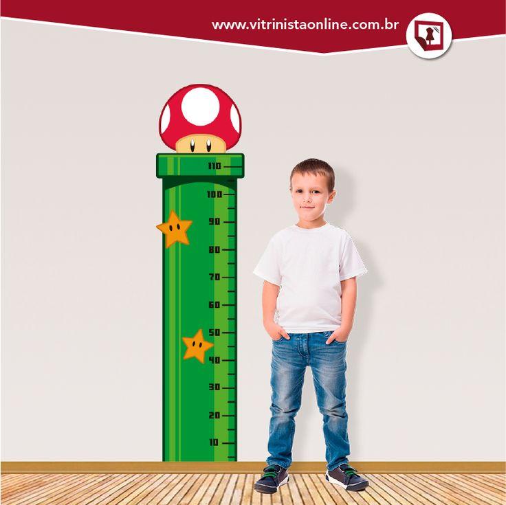 A régua de crescimento infantil acima é inspirada no famoso jogo de videogame SUPER MÁRIO BROS. Temos certeza que esse ADESIVO vai deixar os papais encantados e o quarto dos filhotes muito mais divertido!