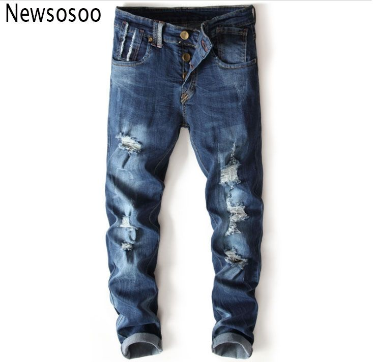 c5f14a03ae4 2017 European American Style fashion brand mens jeans luxury Men slim denim  trousers hole Slim Buttons