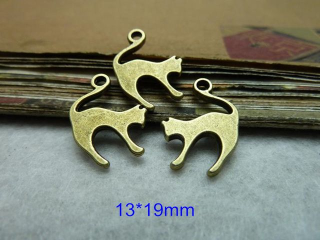 100 PCS encantos pingente 13 * 19 mm Bronze antigo gatos salto frete grátis Design bonito