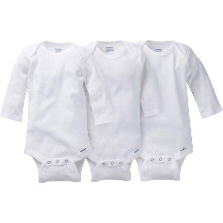 Gerber Newborn Baby Boy, Girl or Unisex Onesies Brand White Long Sleeve Bodysuit, 3-Pack, Size: 0 - 3 Months