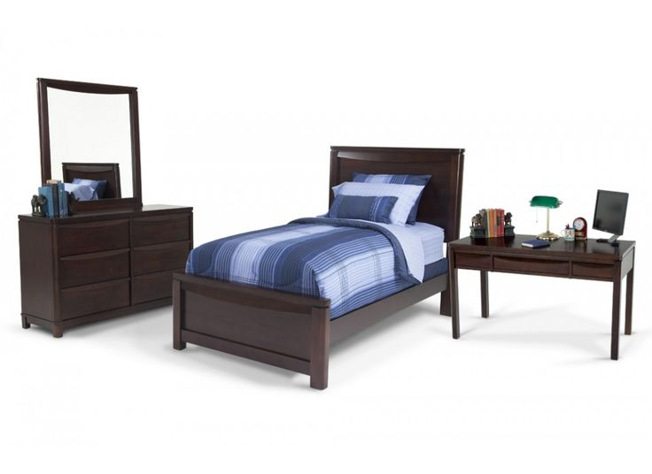Greenville 7 piece twin bedroom set with desk kids for Youth bedroom furniture sets