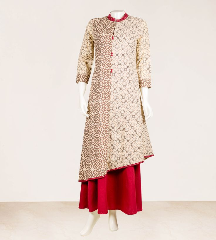 Hand Block Printed Beige and Maroon Maroon Long Dress inner Sequin work on Neck and Hem  100% Cotton