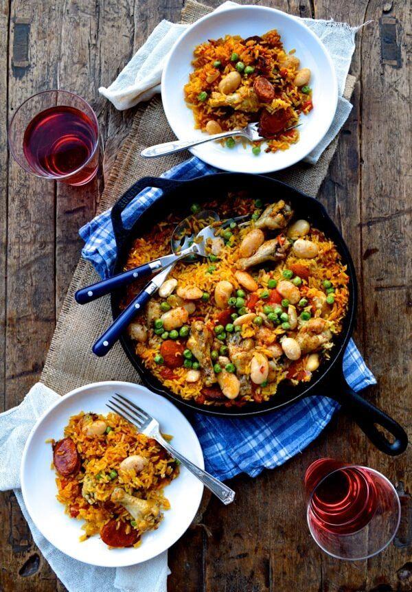 Chicken, chorizo, butter bean + peas paella