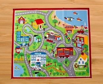 Childrens Road Map Floor Rug Kids Play Mat City Road Car Track 100 x 110cm  NEW