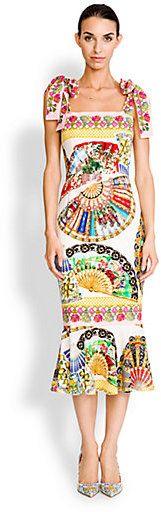 Dolce & Gabbana Tie-Shoulder Foulard-Print Dress #Vintage #Hippie #FlowerPower #Boho