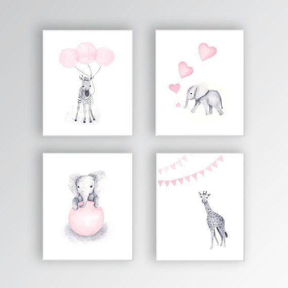 Baby Girl Nursery Art CANVASES, Animal Nursery Decor, Elephant Nursery, Zebra Nursery Art, Set of Four – S426