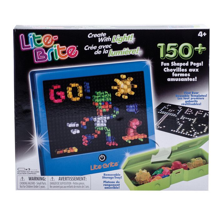 Create beautiful artwork with light! This classic toy is back and better than ever! Features a removable storage tray to hold all the different shaped pegs and 6 reusable templates. Requires 3 AA batt