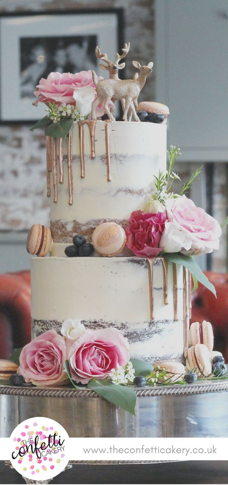 Modern semi-nude wedding cake with macarons, rose gold drops and fresh flowers .... - Baking / Bakery - #BackenBakery #Flowers #fresh #Halbna ...