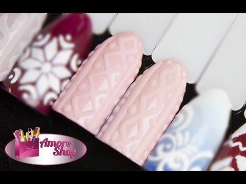 ❅ Вязаный маникюр (вязание на ногтях), косички на ногтях, эффект свитера ❅